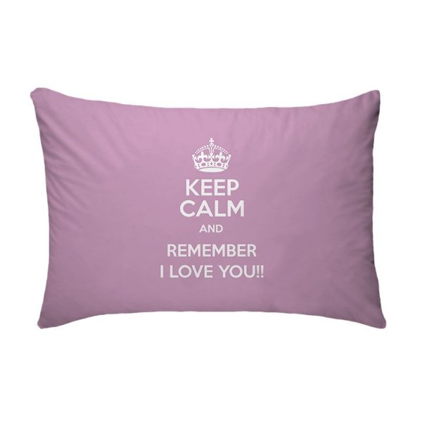 Fronha Para Travesseiros Nerderia e Lojaria keep calm and remember i love you rosa colorido