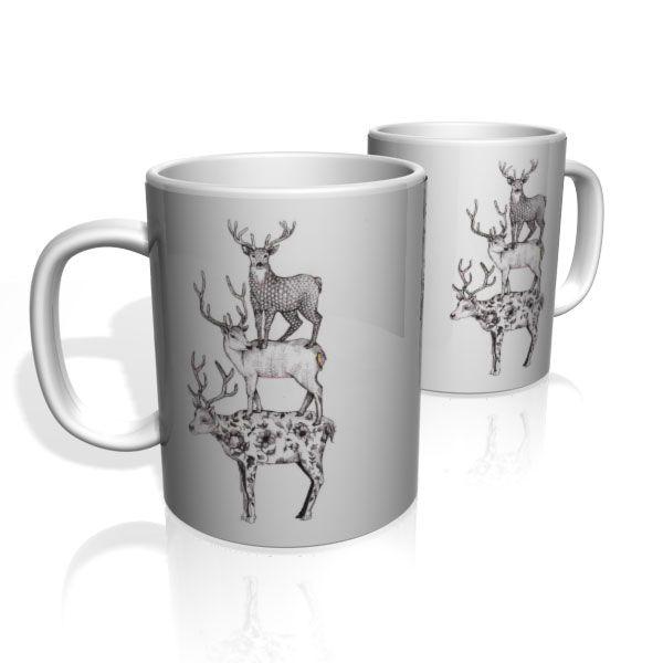 Caneca De Porcelana Nerderia e Lojaria 3 cervos colorido