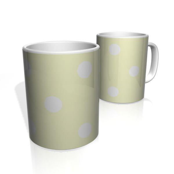 Caneca De Porcelana Nerderia e Lojaria amarelo bolas brancas colorido