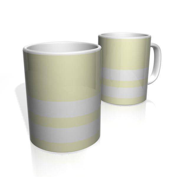 Caneca De Porcelana Nerderia e Lojaria amarelo claro duas faixas colorido