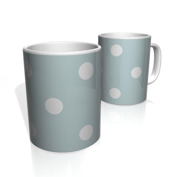 Caneca De Porcelana Nerderia e Lojaria azul bolas brancas colorido