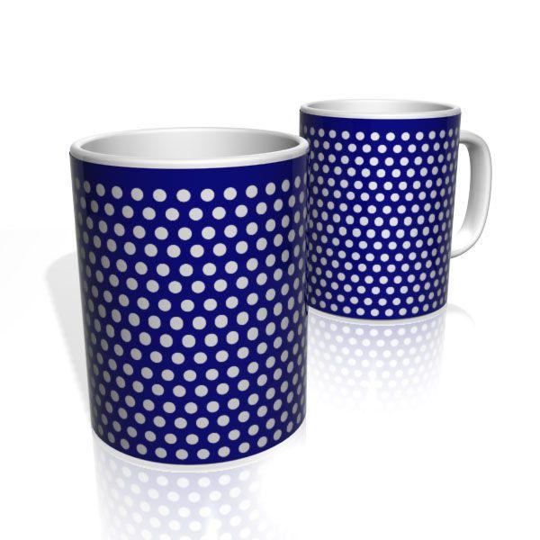 Caneca De Porcelana Nerderia e Lojaria azul com bolinhas brancas 4 colorido
