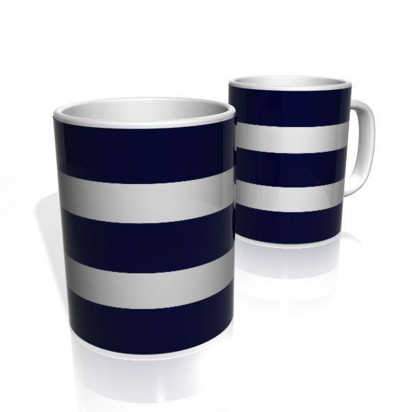 Caneca De Porcelana Nerderia e Lojaria azul duas faixas 2 colorido