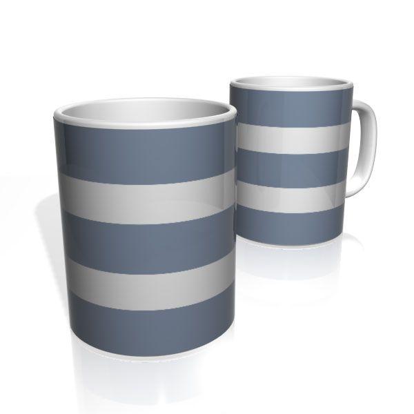 Caneca De Porcelana Nerderia e Lojaria azul duas faixas colorido