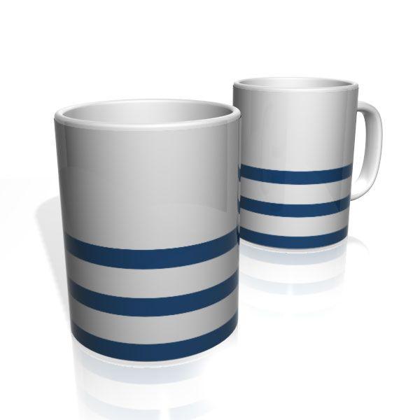 Caneca De Porcelana Nerderia e Lojaria azul tres faixas colorido