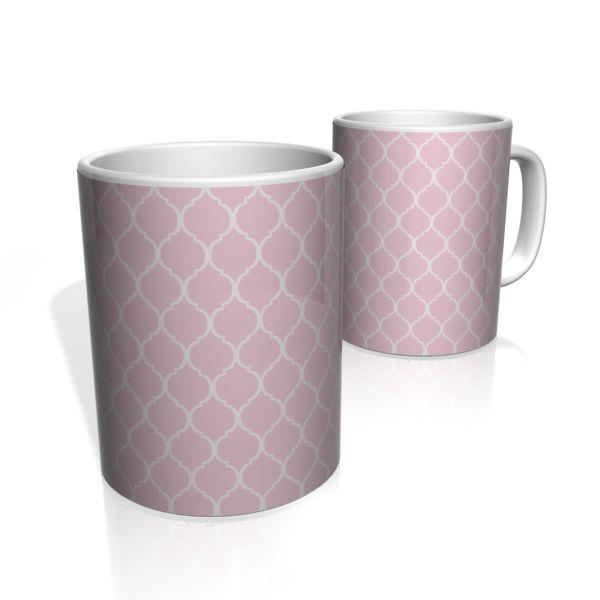 Caneca De Porcelana Nerderia e Lojaria azulejo rosa claro  colorido
