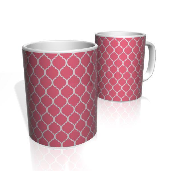 Caneca De Porcelana Nerderia e Lojaria azulejo rosa colorido