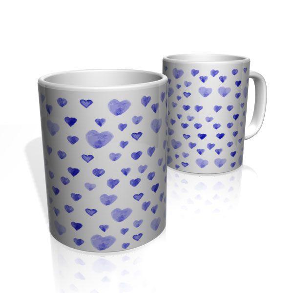 Caneca De Porcelana Nerderia e Lojaria blue heart colorido