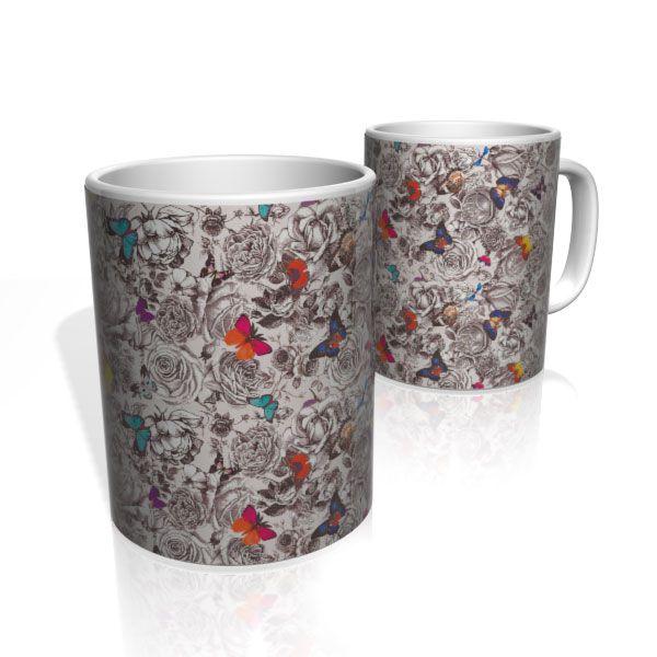 Caneca De Porcelana Nerderia e Lojaria butterflys 2 colorido