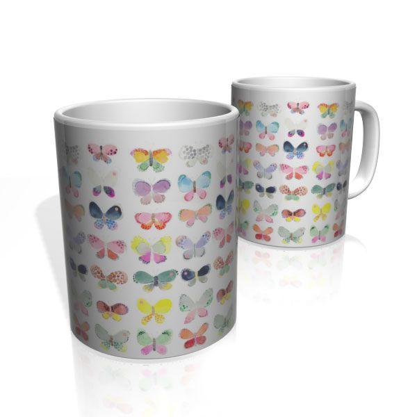Caneca De Porcelana Nerderia e Lojaria butterflys aquarela colorido