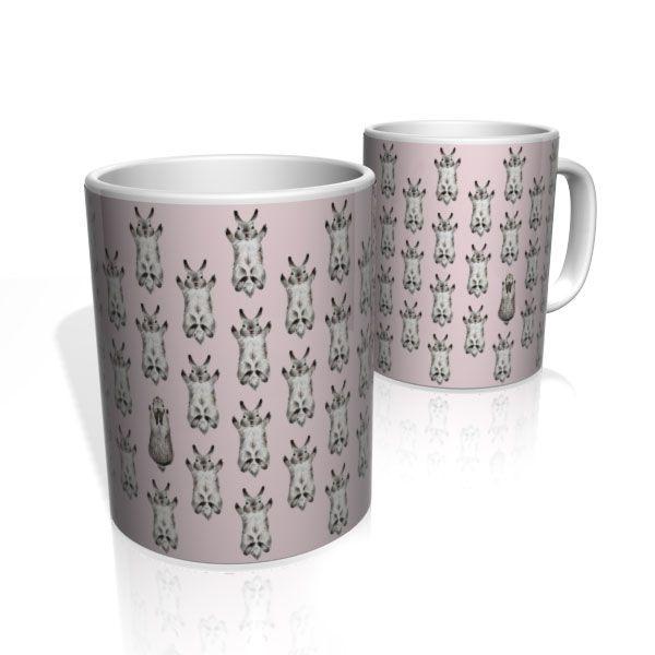 Caneca De Porcelana Nerderia e Lojaria coelhos colorido