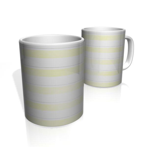 Caneca De Porcelana Nerderia e Lojaria faixas amarelo claro  colorido