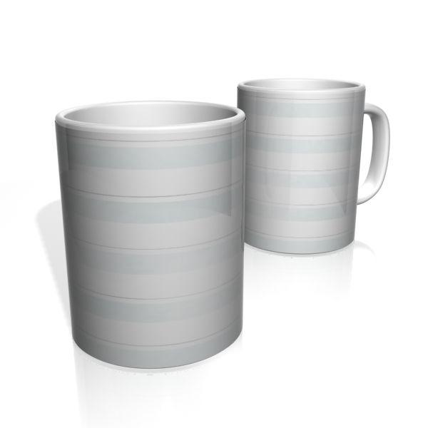 Caneca De Porcelana Nerderia e Lojaria faixas cinza claro  colorido