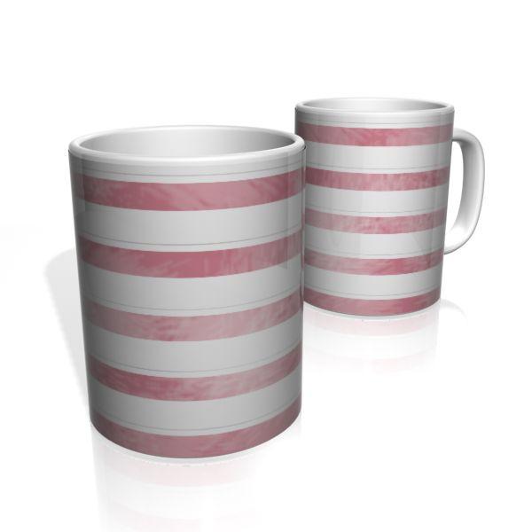 Caneca De Porcelana Nerderia e Lojaria faixas rosa  2 colorido