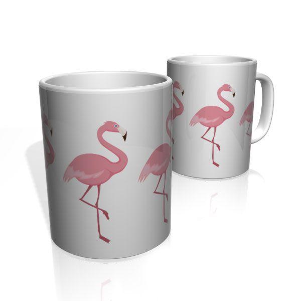 Caneca De Porcelana Nerderia e Lojaria flamingos 2 colorido