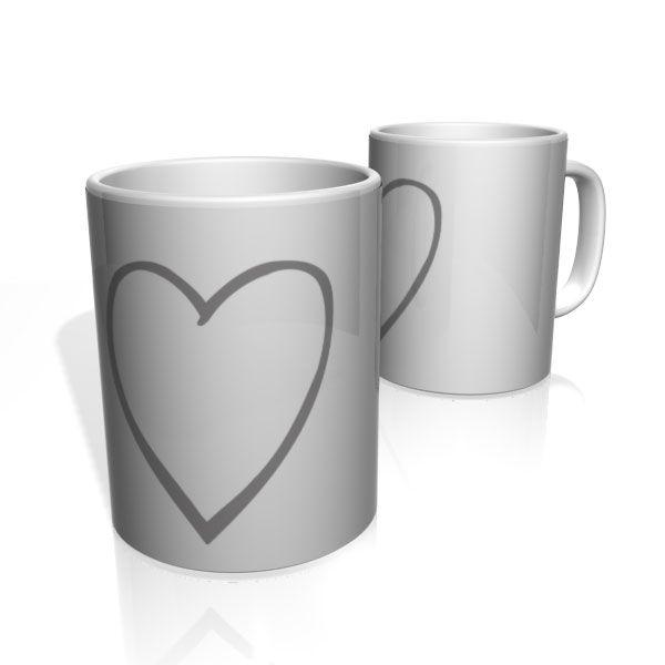 Caneca De Porcelana Nerderia e Lojaria gray heart colorido
