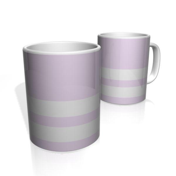 Caneca De Porcelana Nerderia e Lojaria lilas duas faixas colorido