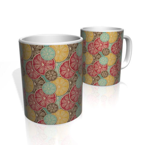 Caneca De Porcelana Nerderia e Lojaria limões colorido