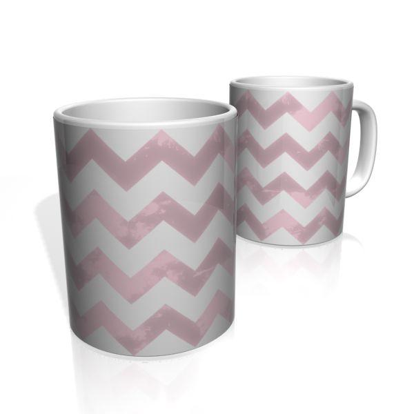 Caneca De Porcelana Nerderia e Lojaria linha zigzag rosa colorido
