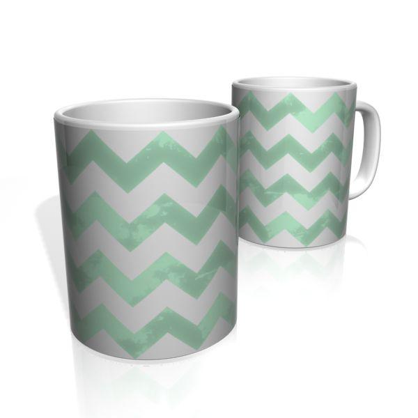 Caneca De Porcelana Nerderia e Lojaria linha zigzag verde colorido