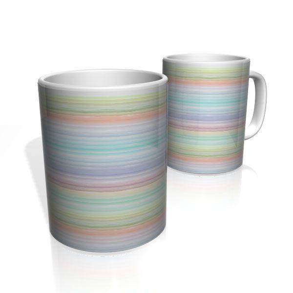 Caneca De Porcelana Nerderia e Lojaria linhas arco-iris colorido