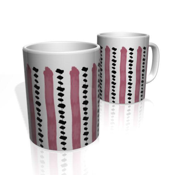 Caneca De Porcelana Nerderia e Lojaria linhas rosa preto colorido