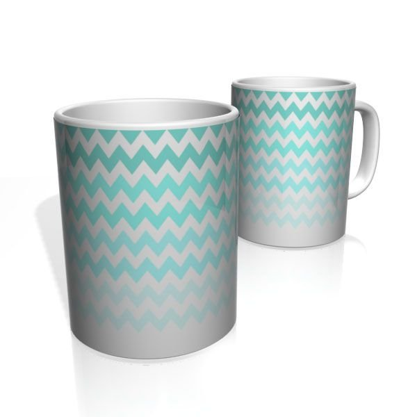 Caneca De Porcelana Nerderia e Lojaria linhas zigzag tons azul colorido
