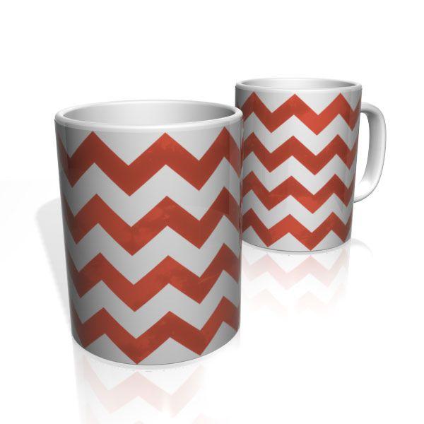 Caneca De Porcelana Nerderia e Lojaria linhas zigzag vermelha colorido