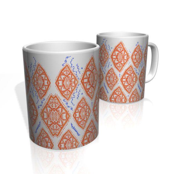 Caneca De Porcelana Nerderia e Lojaria lozango laranja colorido