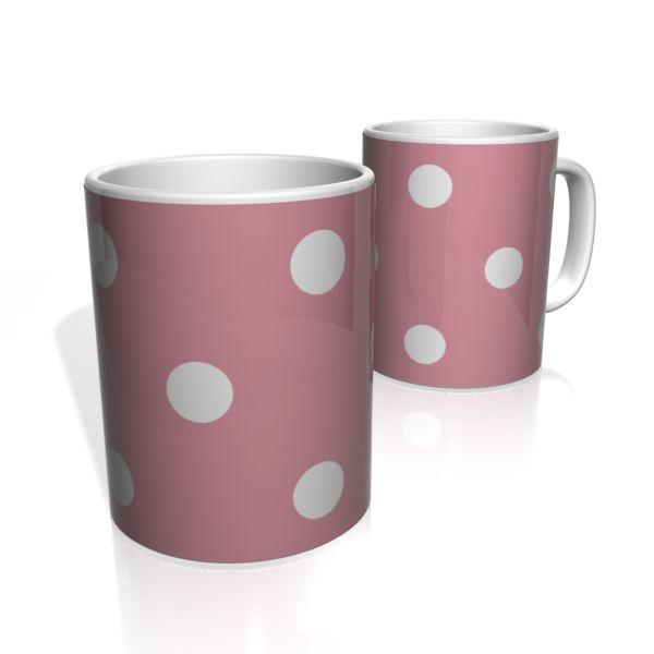 Caneca De Porcelana Nerderia e Lojaria pink bolas brancas colorido
