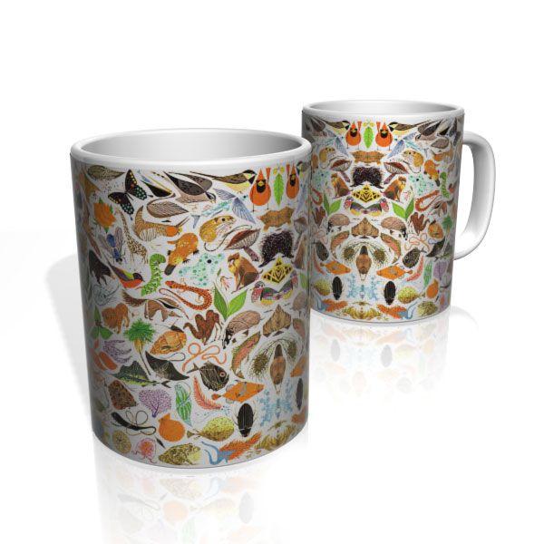 Caneca De Porcelana Nerderia e Lojaria reino animal 2 colorido