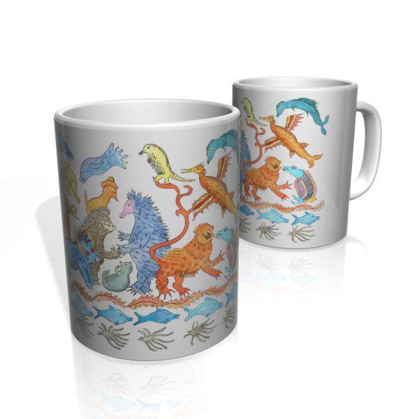 Caneca De Porcelana Nerderia e Lojaria reino animal 3 colorido