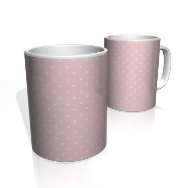Caneca De Porcelana Nerderia e Lojaria rosa com bolinhas brancas colorido