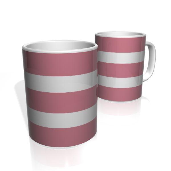 Caneca De Porcelana Nerderia e Lojaria rosa duas faixas 4 colorido