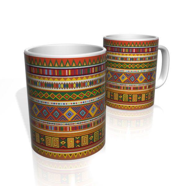 Caneca De Porcelana Nerderia e Lojaria tribal colorido