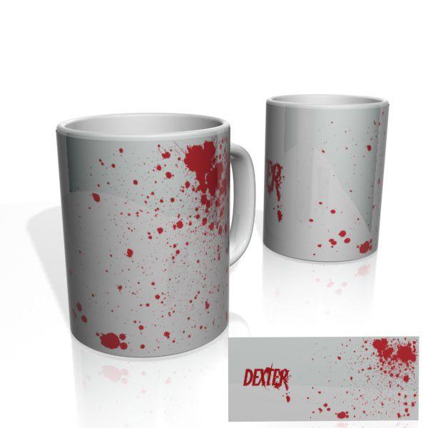 Caneca decorativa Nerderia e Lojaria dexter blood colorido
