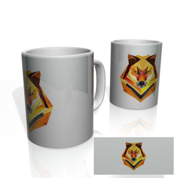 Caneca decorativa Nerderia e Lojaria geometric wolf colorido