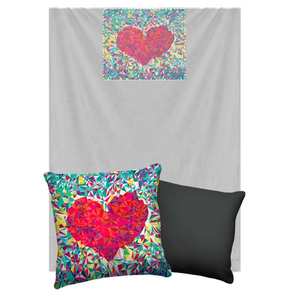 Manta Que Vira Almofada Com Travesseirinho Nerderia e Lojaria coração geometrico colorido