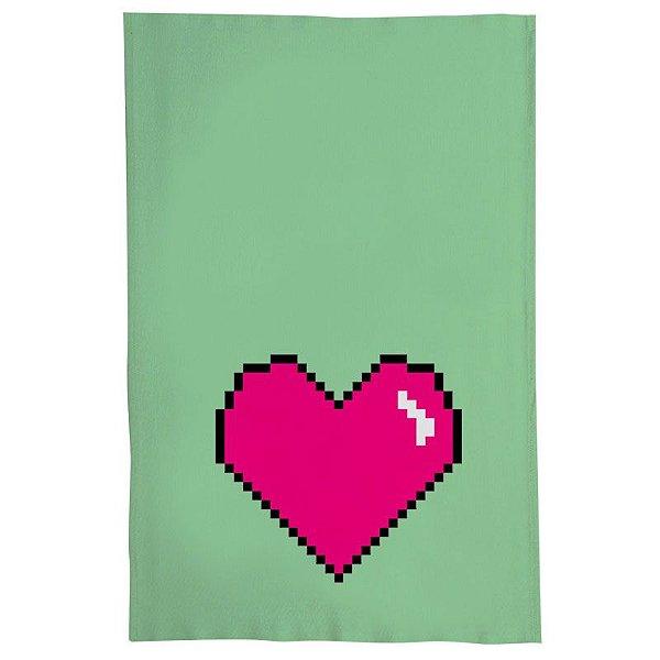 Pano De Prato Descorativo Nerderia e Lojaria coracao pixels colorido