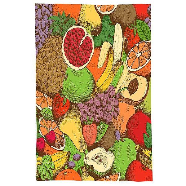 Pano De Prato Descorativo Nerderia e Lojaria desenho frutas colorido