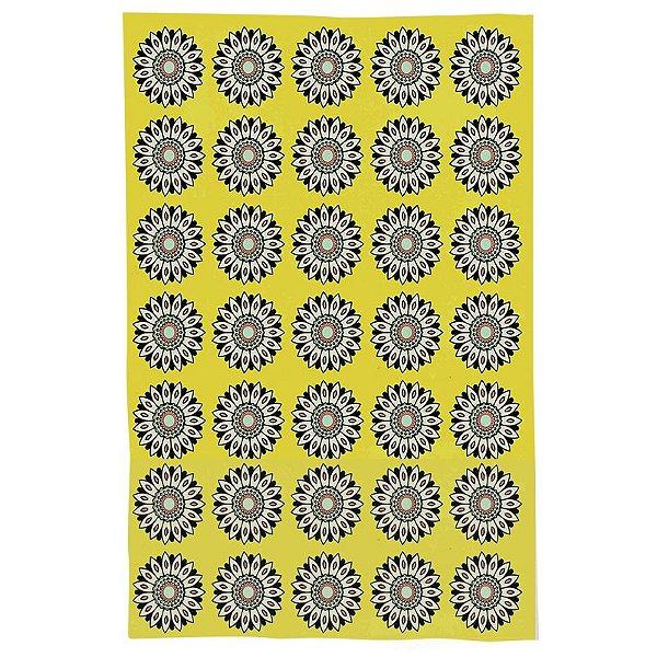 Pano De Prato Descorativo Nerderia e Lojaria flor geometrica colorido