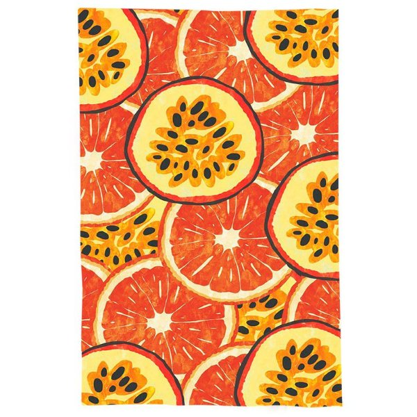 Pano De Prato Descorativo Nerderia e Lojaria frutas maracuja e laranja colorido