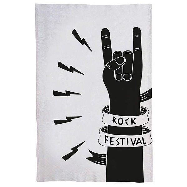 Pano De Prato Descorativo Nerderia e Lojaria rock festival colorido