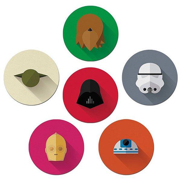 Porta Copos Nerderia e Lojaria starwars minimalista colorido