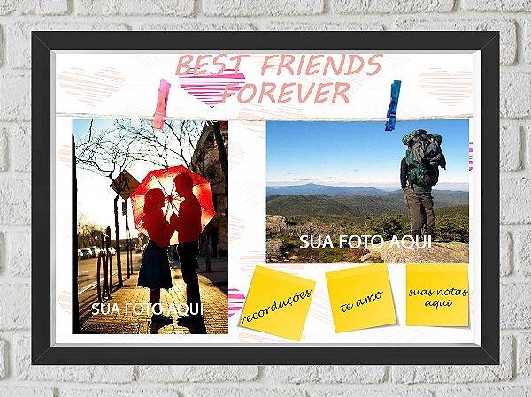 Quadro Caixa Porta Foto e Recadinho com Varal 23x33cm best friend forever 2 preto
