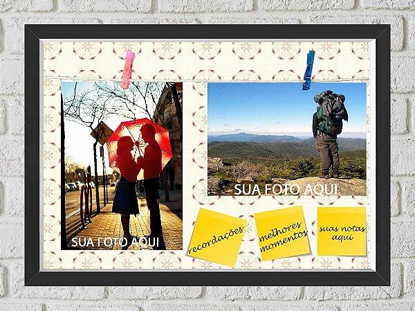 Quadro Caixa Porta Foto e Recadinho com Varal 23x33cm flor preto