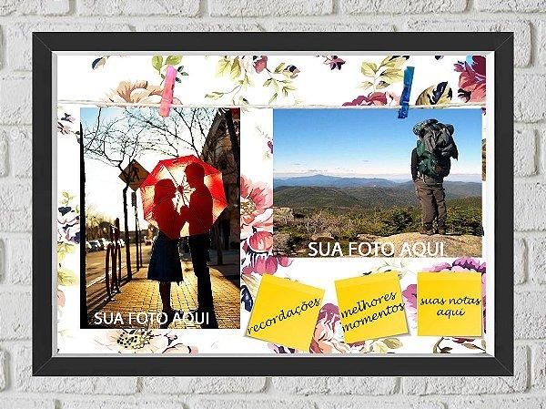 Quadro Caixa Porta Foto e Recadinho com Varal 23x33cm flowers colors preto