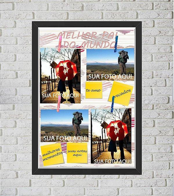 Quadro Caixa Porta Foto e Recadinho com Varal 33x43cm i love dad preto