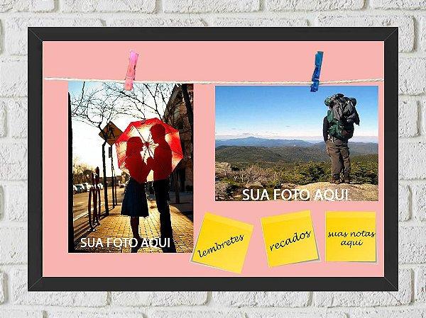 Quadro Porta Foto e Recadinho com Varal 23x33cm fundo rosa preto