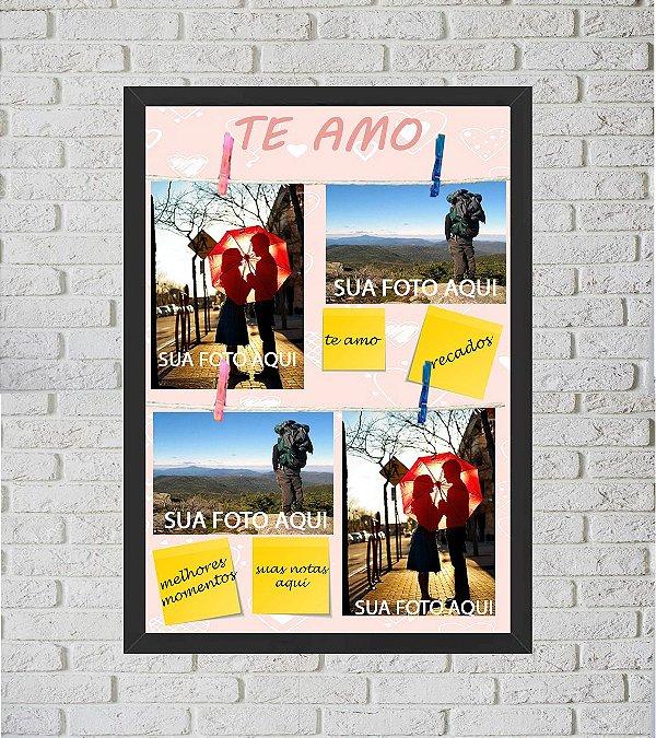 Quadro Porta Foto e Recadinho com Varal 33x43cm best friend forever 1 preto